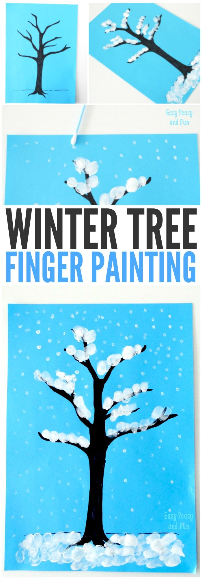 Photo of Winter Tree Finger Painting – Quick Art Project for Kids – Easy Peasy and Fun