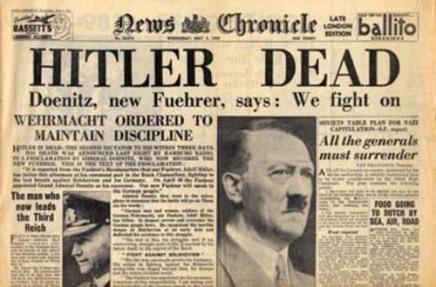 Hitler morto - uno dei più iconici titoli di giornale mai stampati