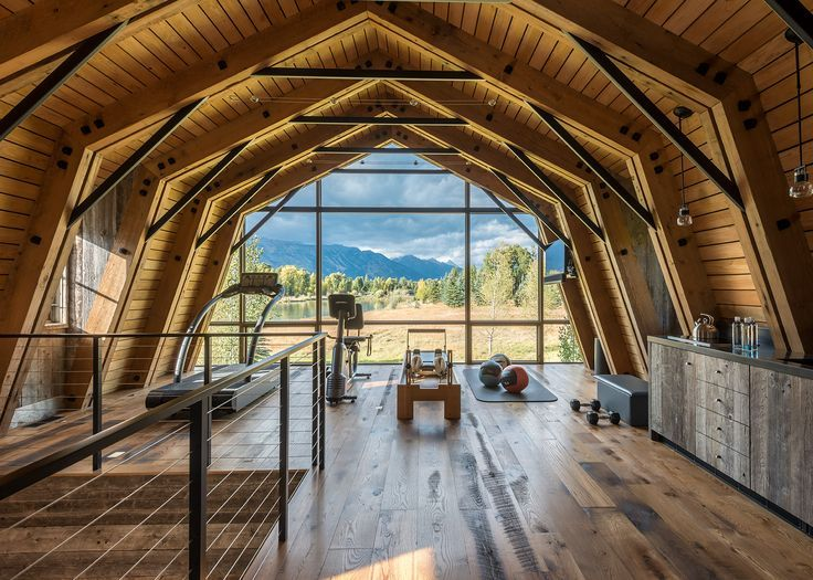 Amazing Home Gym Overlooking The Snake River In This Converted Barn Home In Wilson Wyoming Barn House Conversion Barn House Interior Guest House Shed