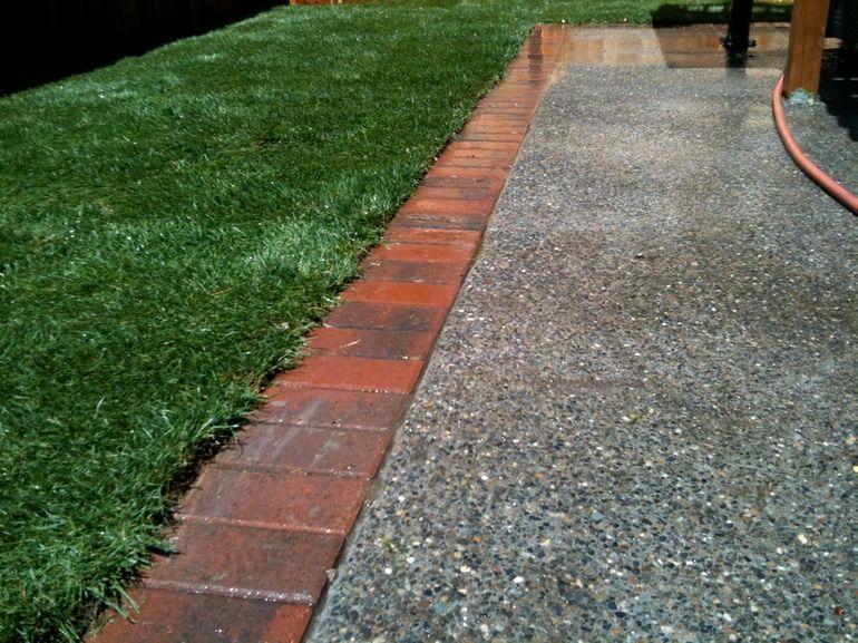 concrete with brick border Brick Edging Patio Ideas Pinterest