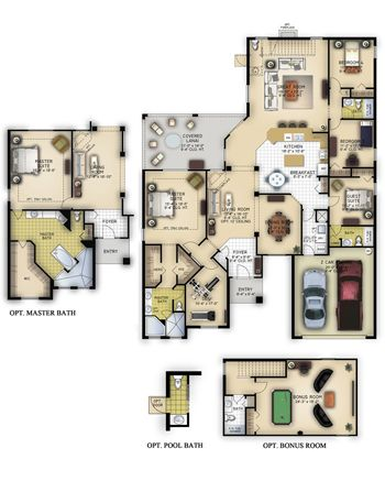 The Lancaster Artfully Laid Out On One Floor This Luxury Home Lives Incredibly Well An Airy Open Floor Plan And A Mission House Free Floor Plans Floor Plans