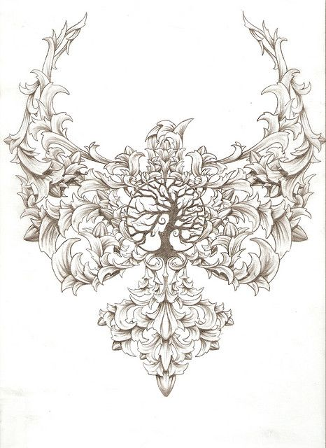 Love the tree of life in the middle of the tattoo