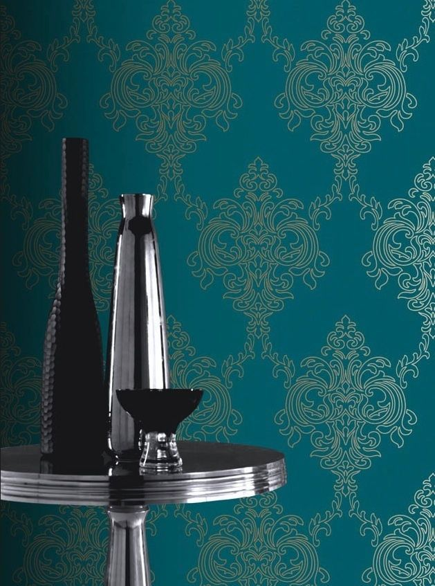 Interior Place Soft Green Floral Damask Wallpaper, 29