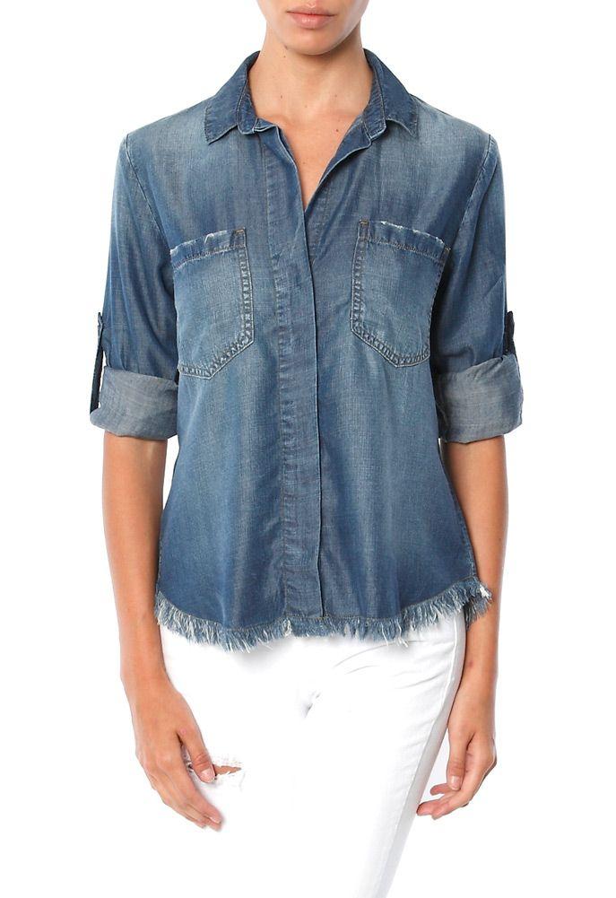 d26424302b1 Cloth   Stone Frayed Hem Split Back Chambray Shirt Heidi s Haute Deals  hlc531 ebay