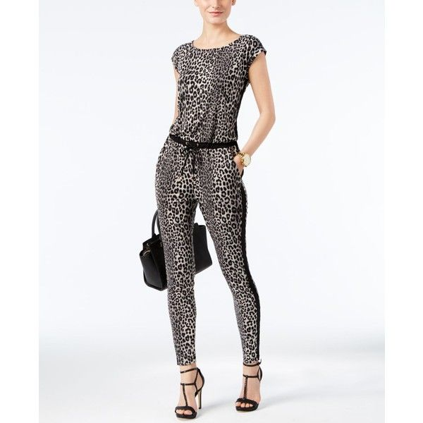 df6fdef96ad Michael Michael Kors Leopard-Print Jumpsuit ( 140) ❤ liked on Polyvore  featuring jumpsuits