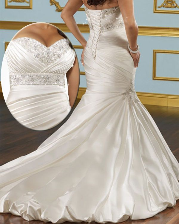 b0a7167afa216 Glamorous Satin Mermaid Sweetheart Neckline Plus Size Wedding Dress 2014  With Beads   Lace Appliques