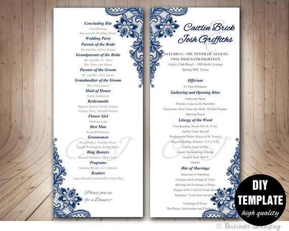 navy blue wedding program template instant download microsoft word