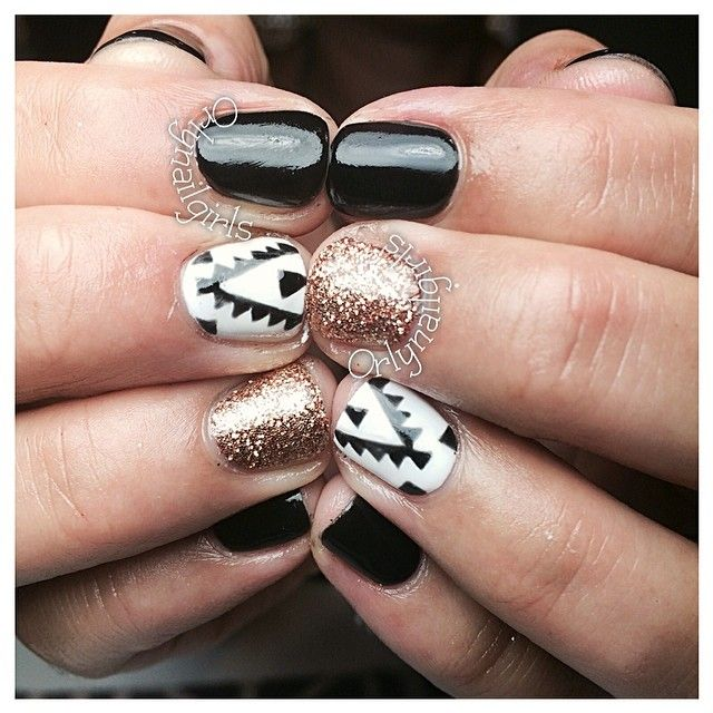 Black White Gold And Tribal Nails Mix Patterns Aztec Nails