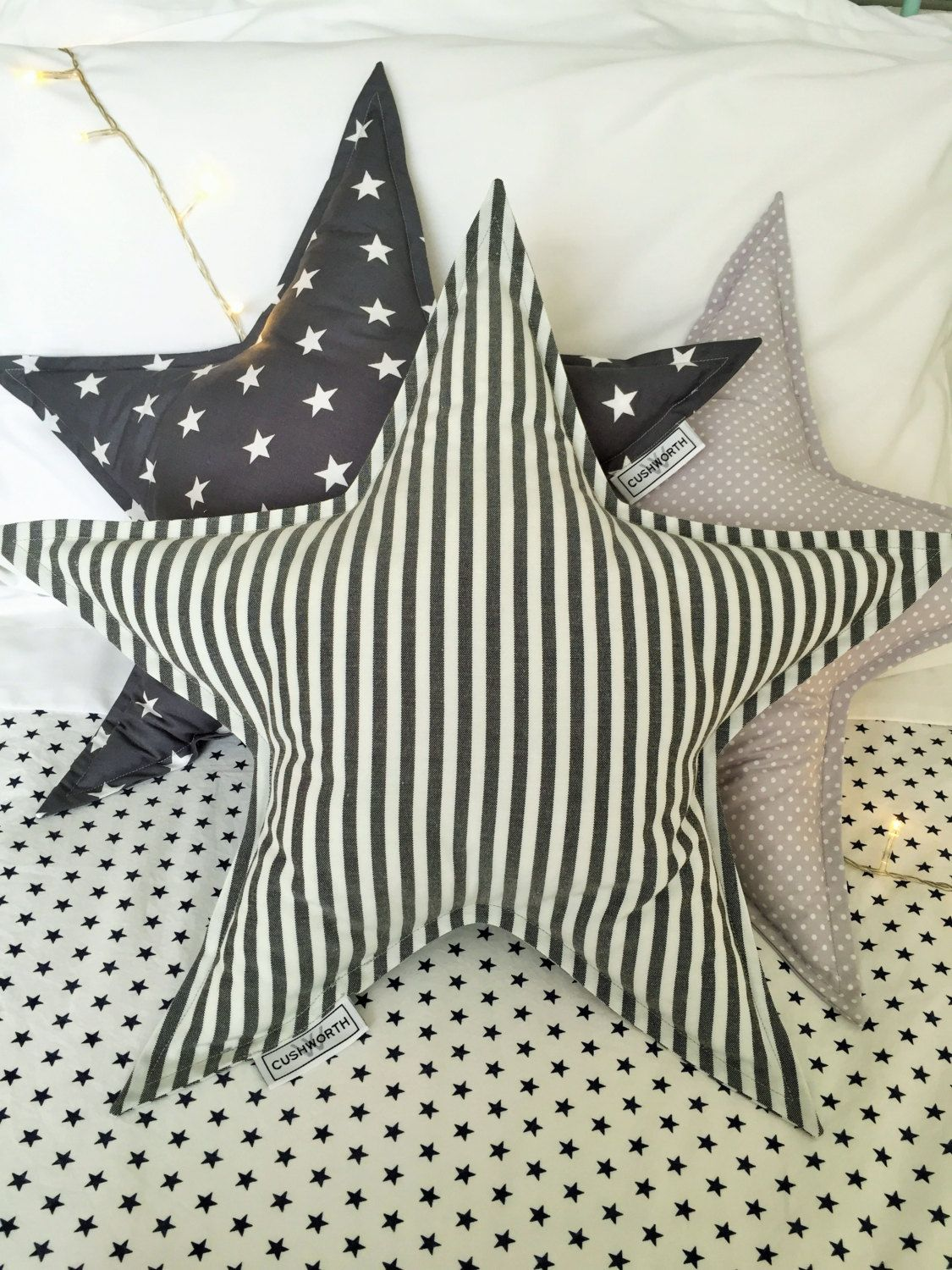 Star shaped cusion - Grey stripes, stars and spots by CUSHWORTH on Etsy