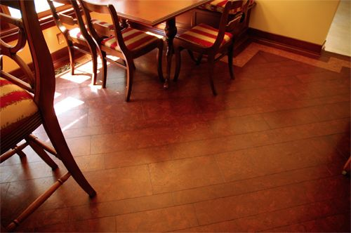 Traditional Looking Floor Using 100 Glue Down Cork Tiles From