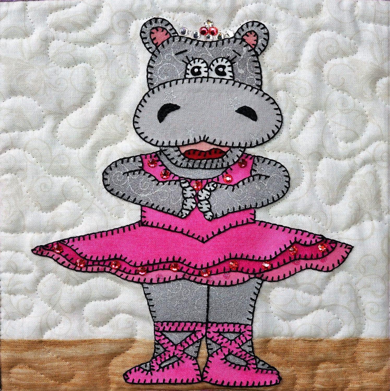 56e79b99ad0de3 Hippo ballerina PDF applique quilt block pattern  ballet hippopotamus baby  or girl s quilt pattern  animal applique PDF quilt by MsPDesignsUSA on Etsy