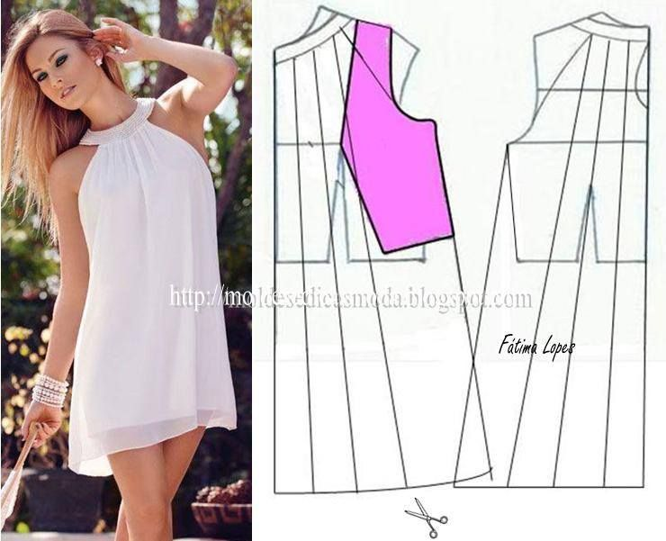 VESTIDO COM GOLA COLAR | Costura y modificaciones | Pinterest ...