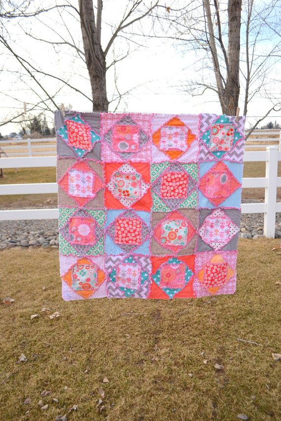 This Fun Square Dance Baby And Toddler Size Rag Quilt Has Each