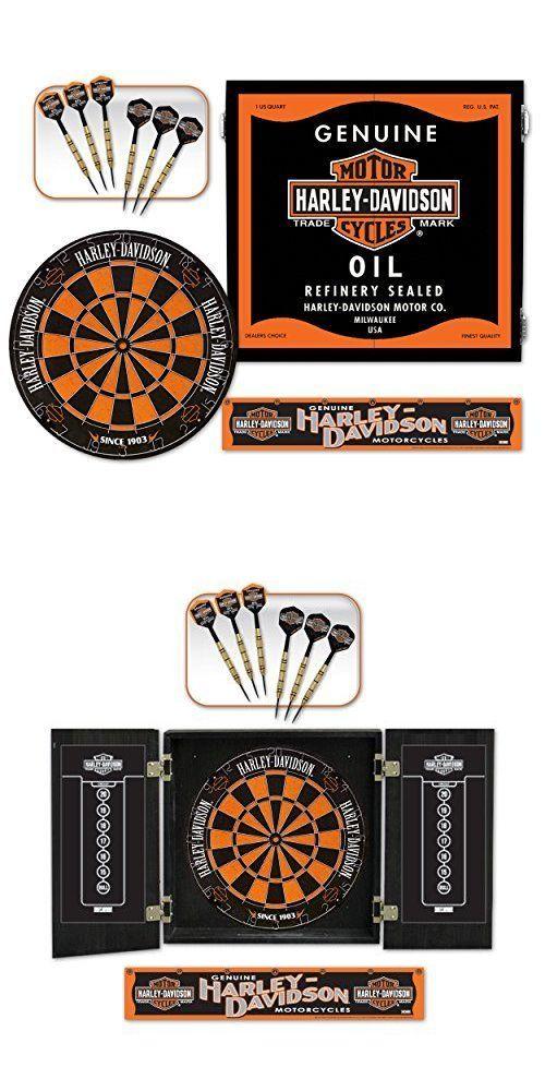 Marvelous Other Darts 2907: Harley Davidson Oil Can Dart Board Cabinet Kit 2 Sets Hd