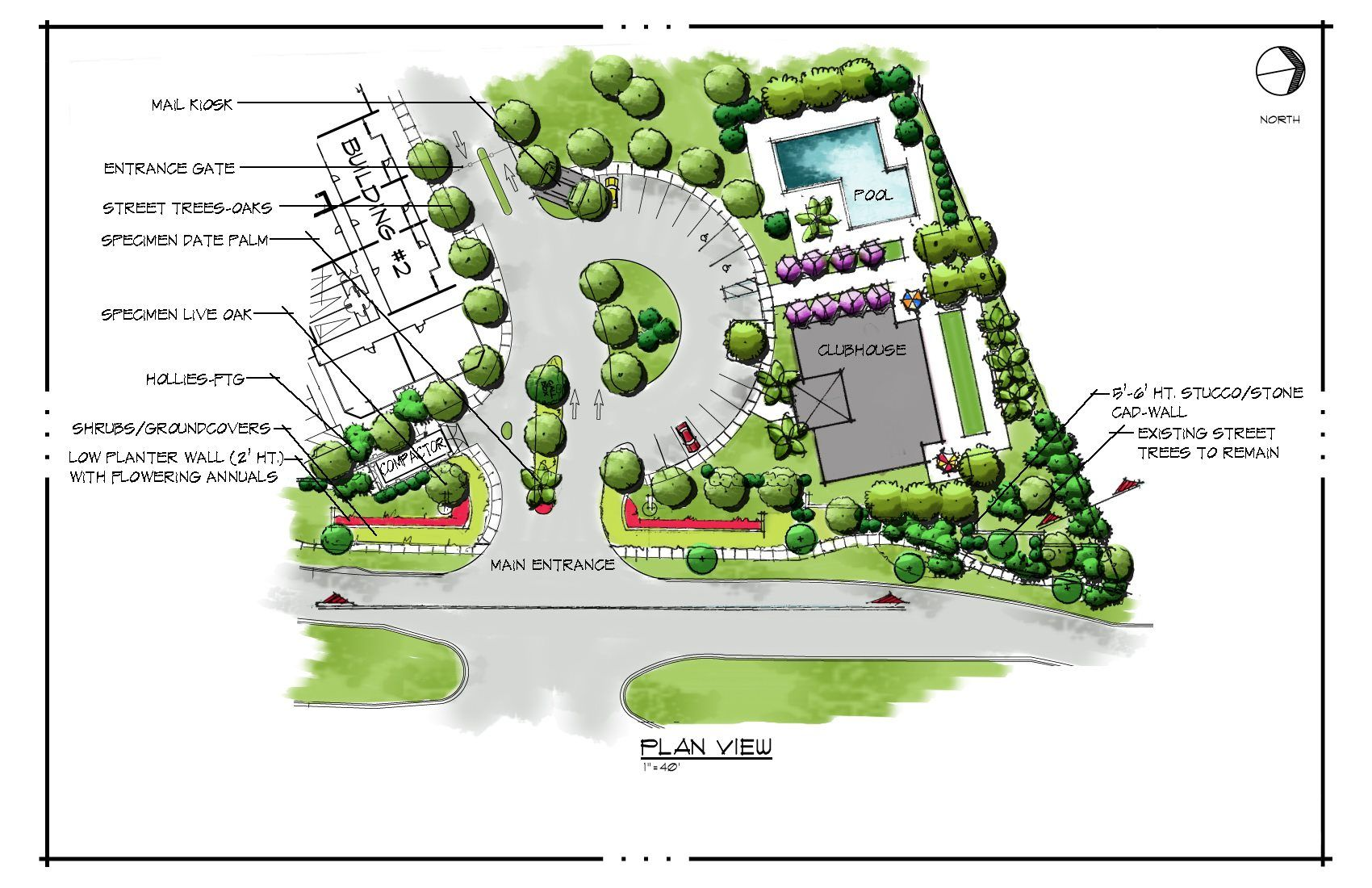 Hybrid conceptual site plan a mix of cad hand drawings and photoshop ex Site plan design