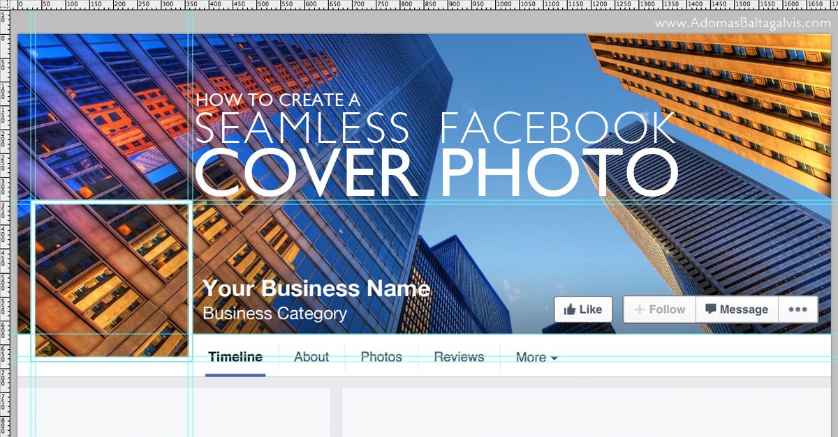 How to create a seamless facebook cover photo and profile picture how to combine facebook cover photo with profile picture for your business page design tutorial and free template adomasbaltagalvis facebook friedricerecipe Gallery