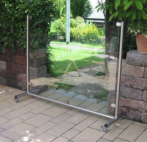 mobiler Glas Windschutz für Garten und Terrasse Screens