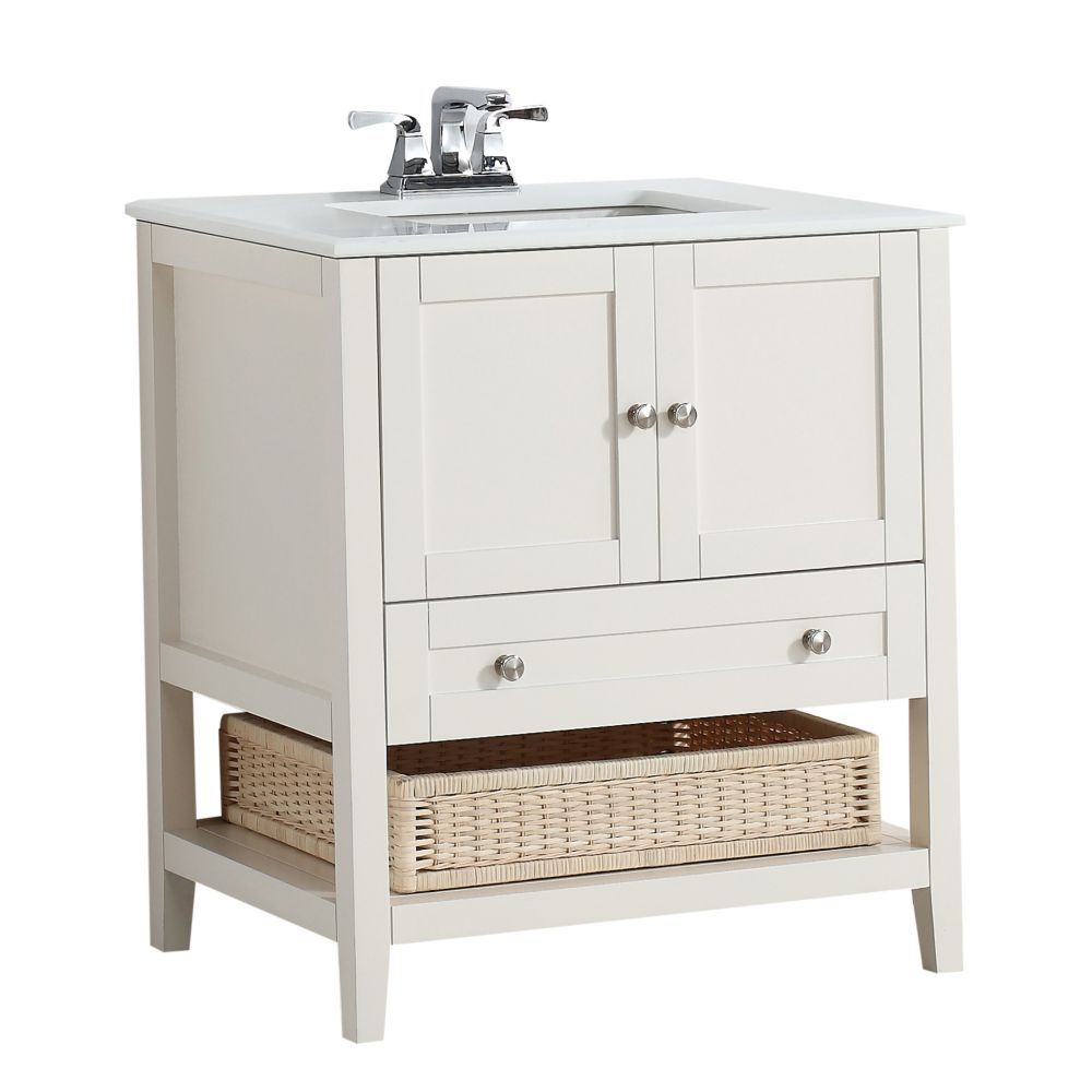 Picture Collection Website For ensuite at cottage Cape Cod Inch Soft White Bath Vanity with White Quartz