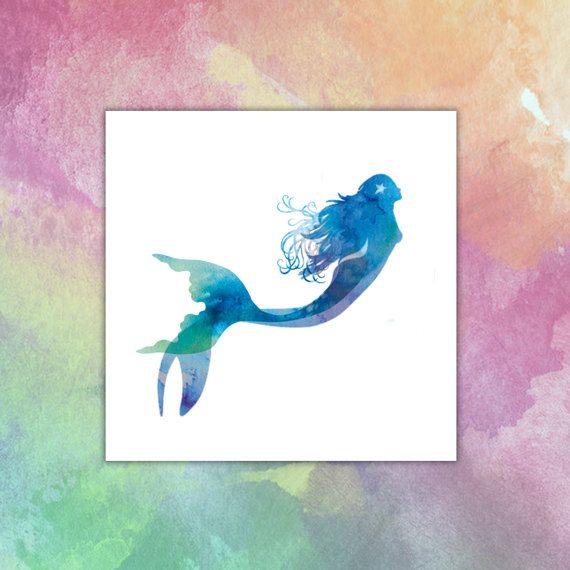 Meerjungfrau Aquarell Temporares Tattoo Aquarell Meerjungfrau