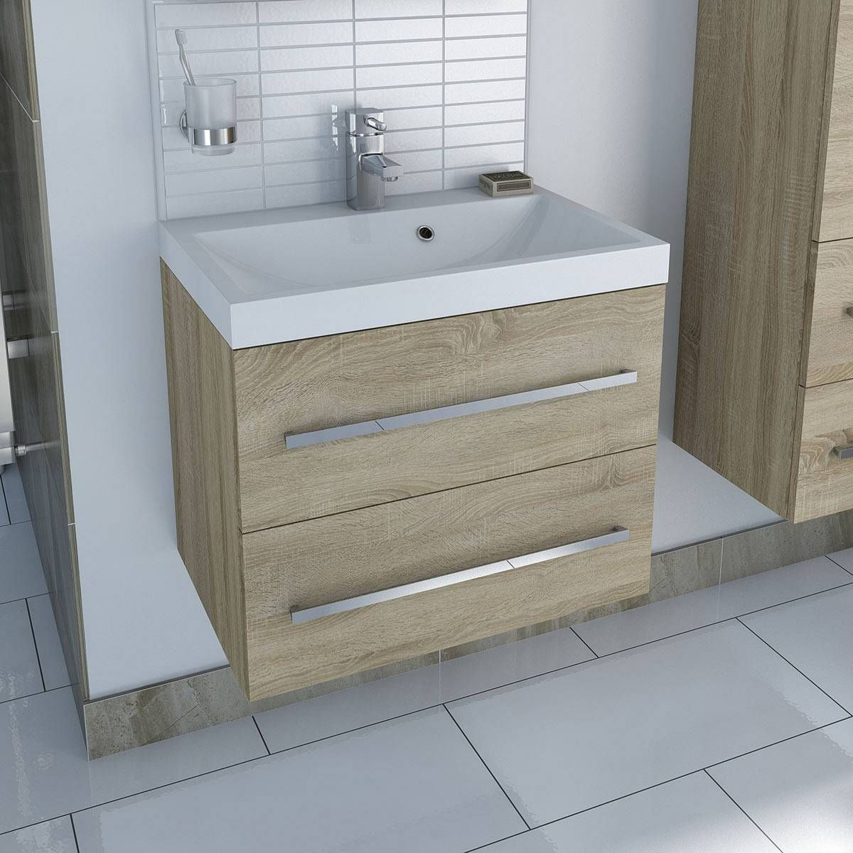 Bathroom Accessories Victoria Plumb drift sawn oak 2 drawer wall hung unit & inset basin - was 519 now
