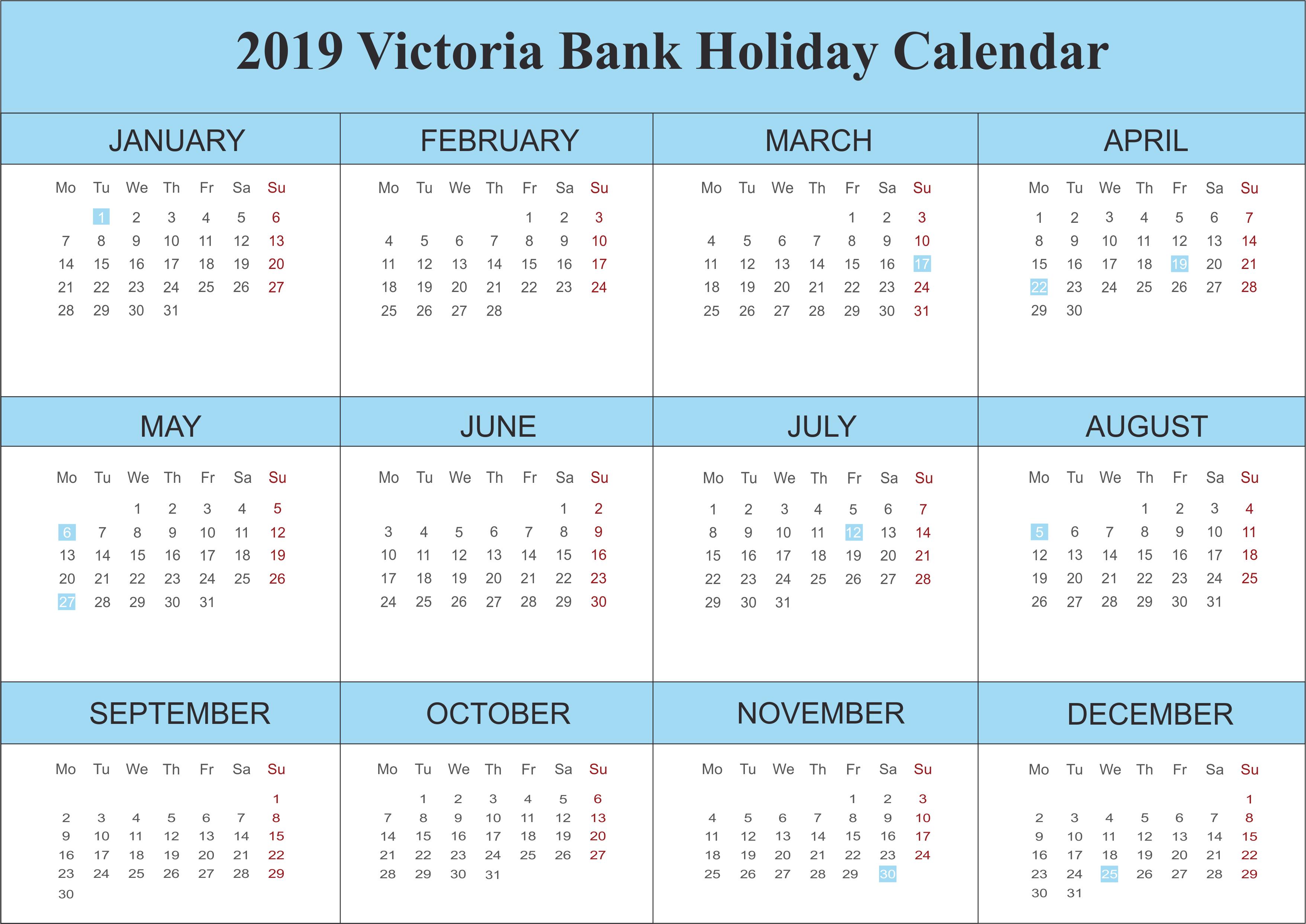 2019 Victoria Blank Holidays Calendar Template 2019calendar 2019printablecalendar 2019calendar Holiday Calendar Holiday Calendar Printable Calendar Template