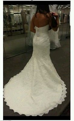 4bf2fe33b843 Oleg Cassini Strapless Lace Trumpet Wedding Dress Style: CRL277 Size: 2  Petite