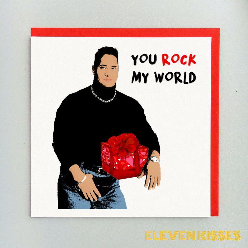 The Rock Valentine S Day Card You Rock My World Valentine Card