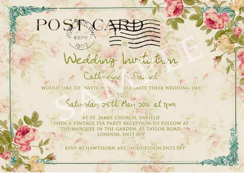 Personalised Vintage Tea Party Postcard Wedding Invitations Once