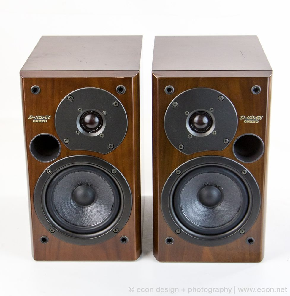 Rare ONKYO D 102AX 80W 2 Way Stereo Bookshelf Speakers Gloss Wood JAPAN 450 Bose