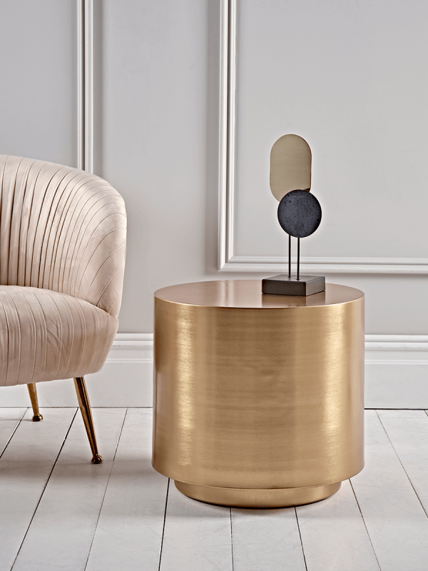 New Round Brass Side Table Occasional Tables Side Tables