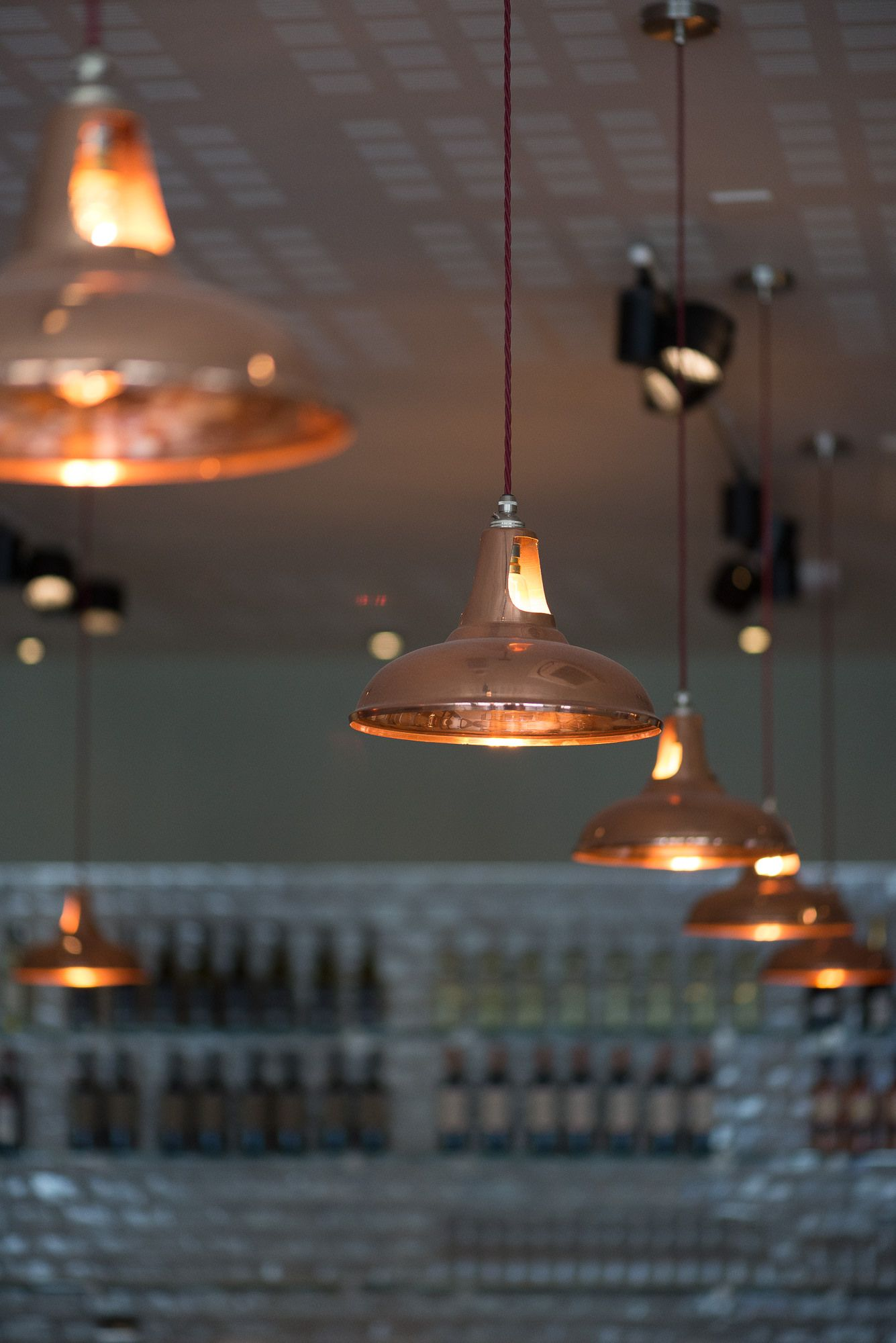 Copper Coolicon Pendant Lights In Pizza Express Bristol