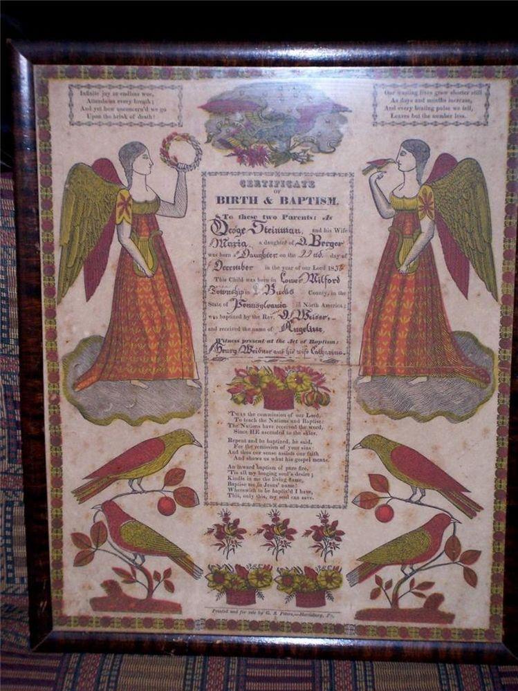 1836 Pennsylvania-Dutch Fraktur Birth Baptism Certificate Steinman - baptism certificate
