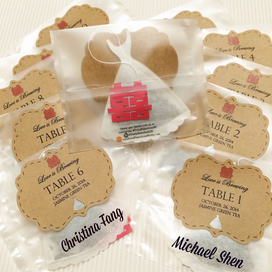 These wedding table place card tea bags are a first