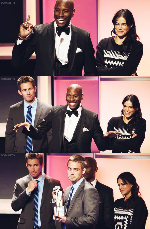 """Tyrese & Michelle Rodriguez presenting Caleb Walker, Cody Walker and Reach Out Worldwide with a Noble Award recognizing the work that Paul did to assist in disaster relief across the globe.  Cody: """"What this means for us is that so many other people loved Paul and loved the work that he was doing. And we just feel the love by being here and being a part of this and being honored by this. It just makes it super special."""""""
