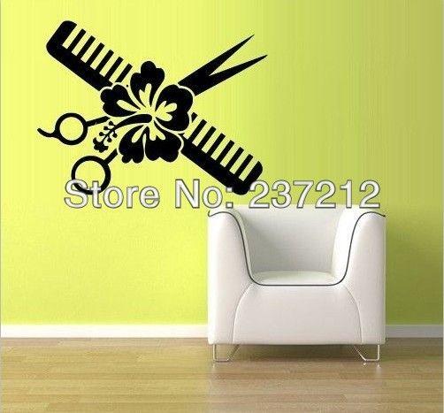 Free Shipping Wall Vinyl Sticker Decals Decor Haircut scissors comb ...