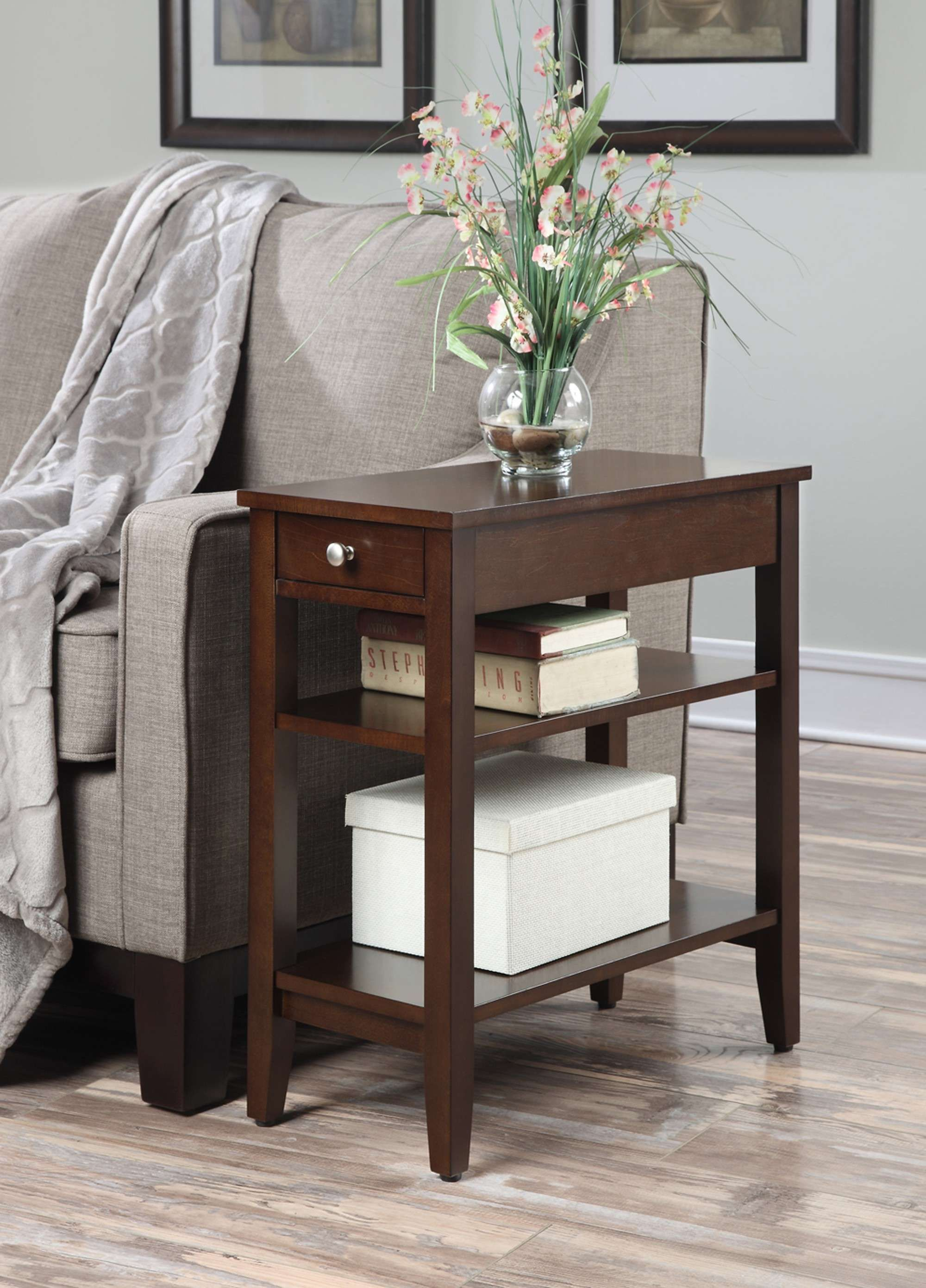 American Heritage Espresso 3 Tier End Table With Drawer End Tables With Drawers Sofa End Tables Espresso End Table