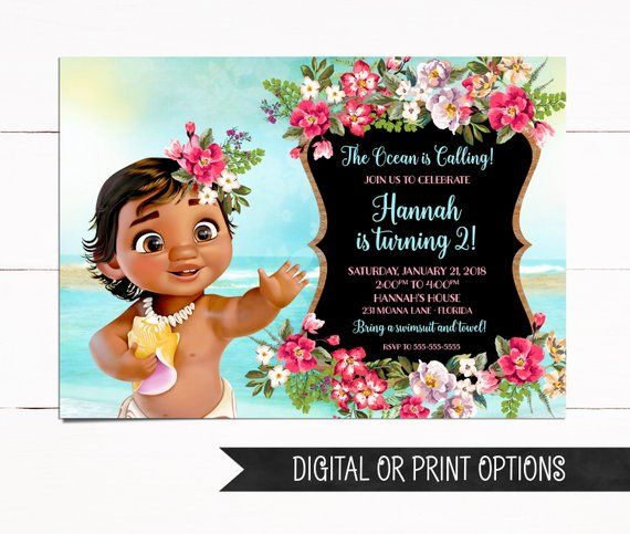Baby Moana Invitation Birthday Girl Invitations Printed