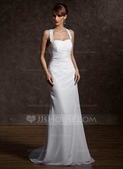 3f281a9a767  € 147.43  Forme Fourreau Dos nu Traîne moyenne Mousseline Robe de mariée  avec Plissé Emperler Motifs appliqués Dentelle (002011507)