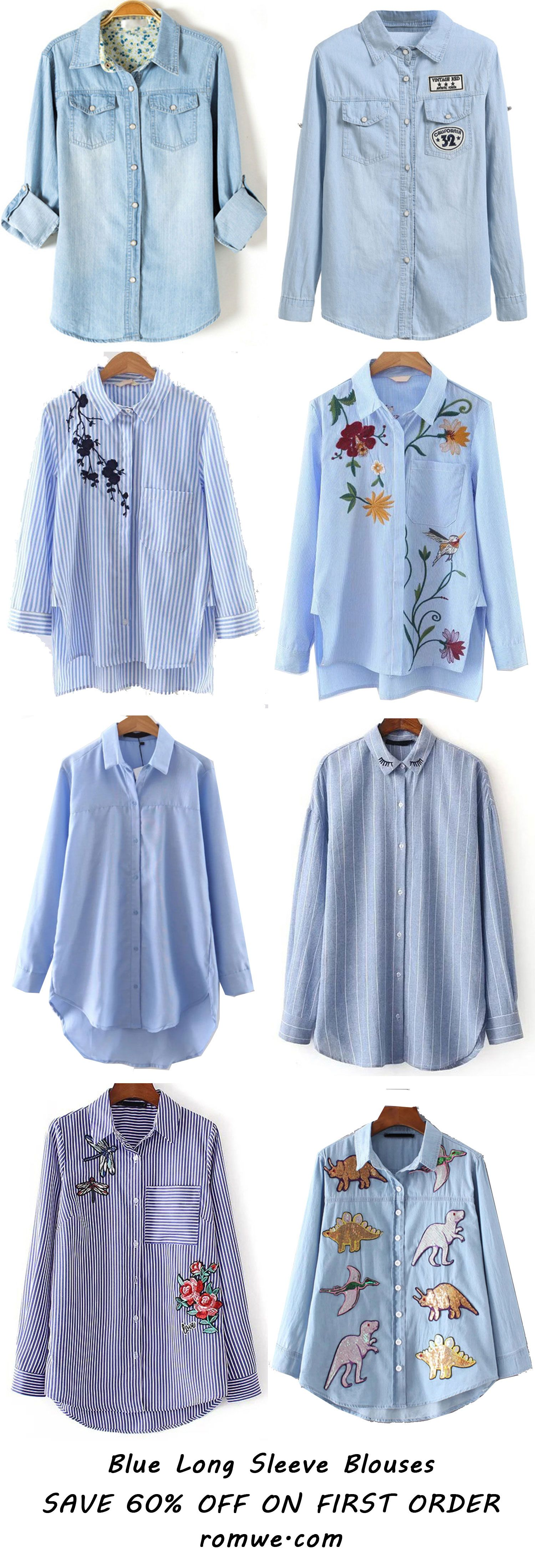 Pure Blue Blouses from romwe.com