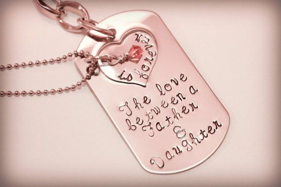 Hand Stamped Father Daughter Key Chain Necklace Set The