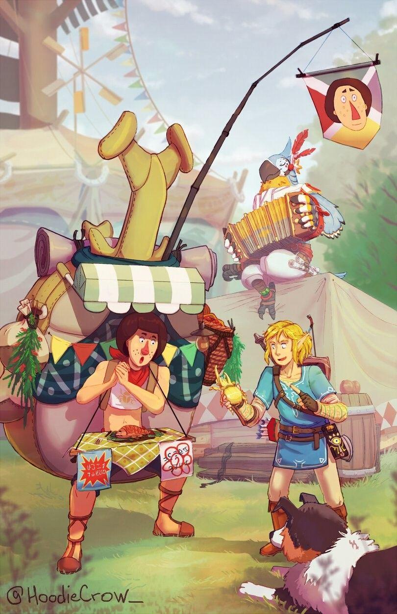 Legend of Zelda Breath of the Wild art > Link , Beedle