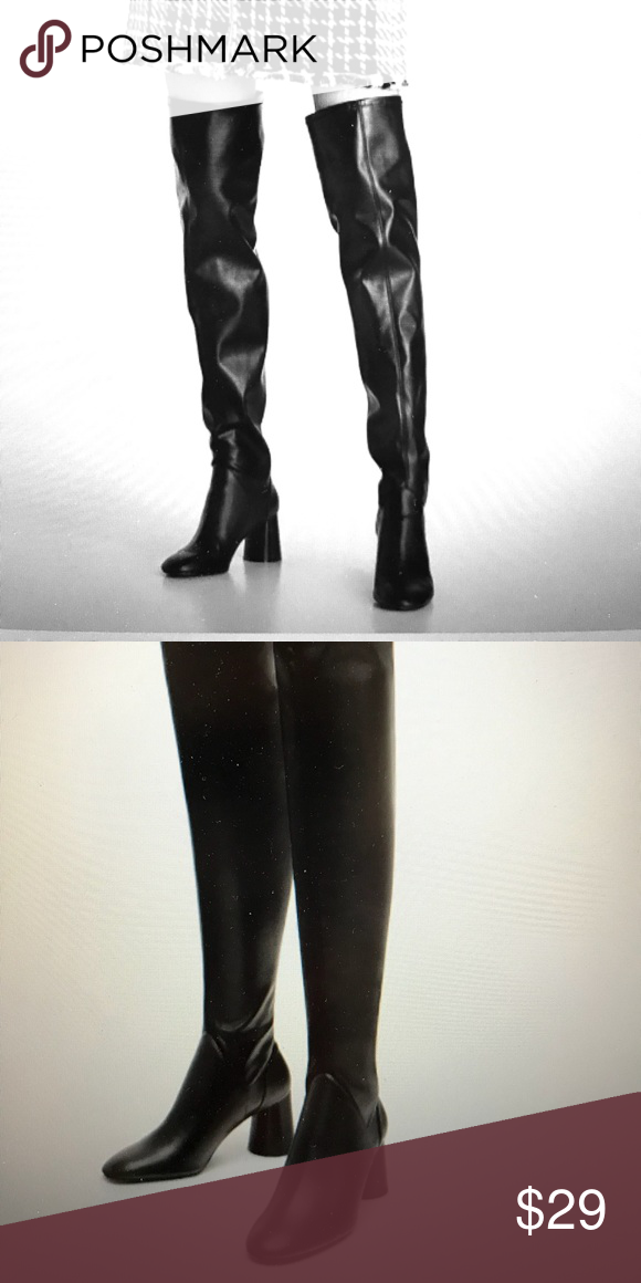 Zara Over The Knee High Heel Boots Black High Heel Boots With Cylindrical Heels And Stretch Legs Heel He High Heel Boots Knee Zara Shoes Black High Heel Boots