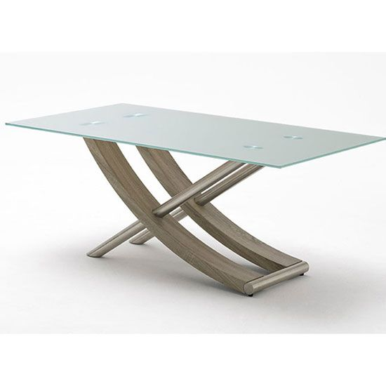 Kaleo Frosted Glass Dining Table With X Shape Oak Base 180 Cm