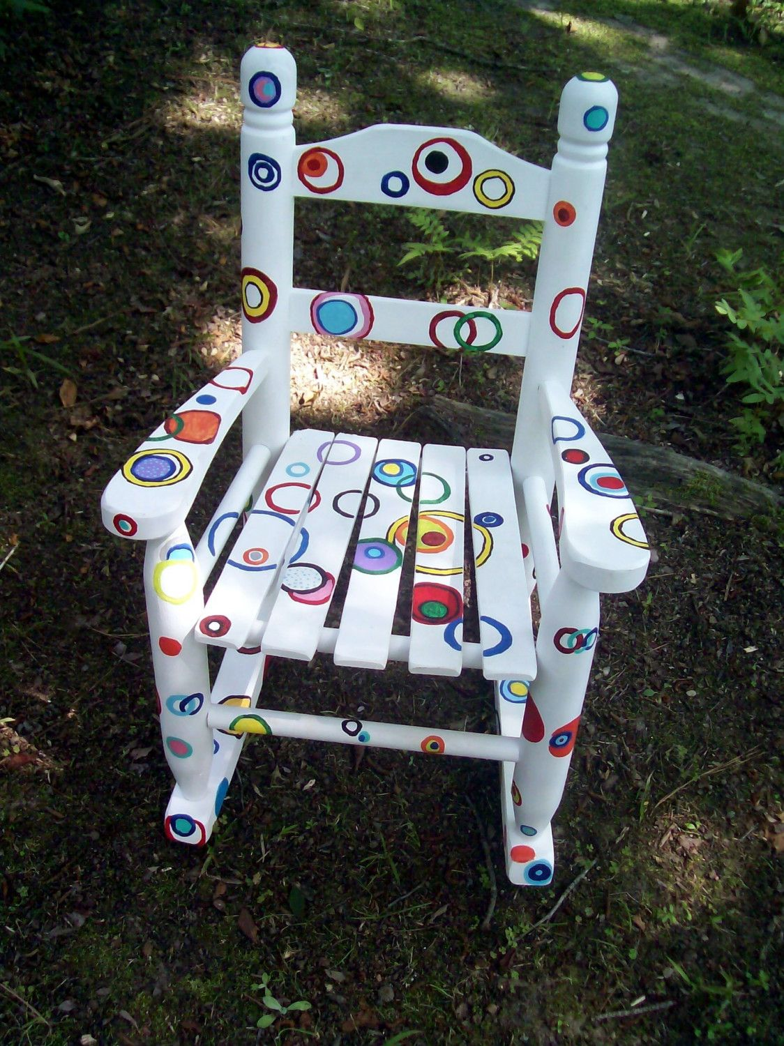 Rocking Chair, Hand Painted Rainbow Bubble Rocking Chair. $130.00, via Etsy.