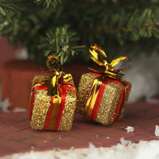 Gift Box Christmas Decorations Miniature Gold Glitter Gift Box Ornaments  Ornaments Wooden