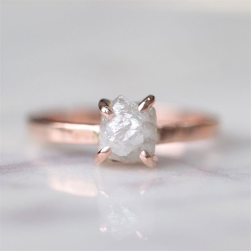 1 61 Carat Rough Diamond Engagement Ring 14k Rose Gold
