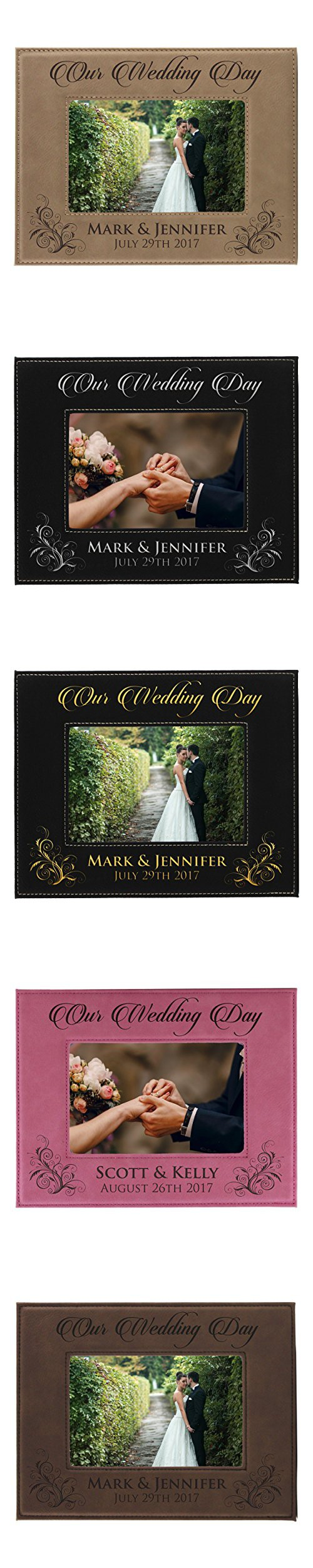 Personalized wedding gift picture frame custom engraved newlywed personalized wedding gift picture frame custom engraved newlywed leather photo gifts 5 x 7 jeuxipadfo Image collections