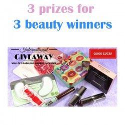 3 prizes for 3 #beauty winners ^_^ http://www.pintalabios.info/en/fashion-giveaways/view/en/3447 #International #MakeUp #bbloggers #Giweaway
