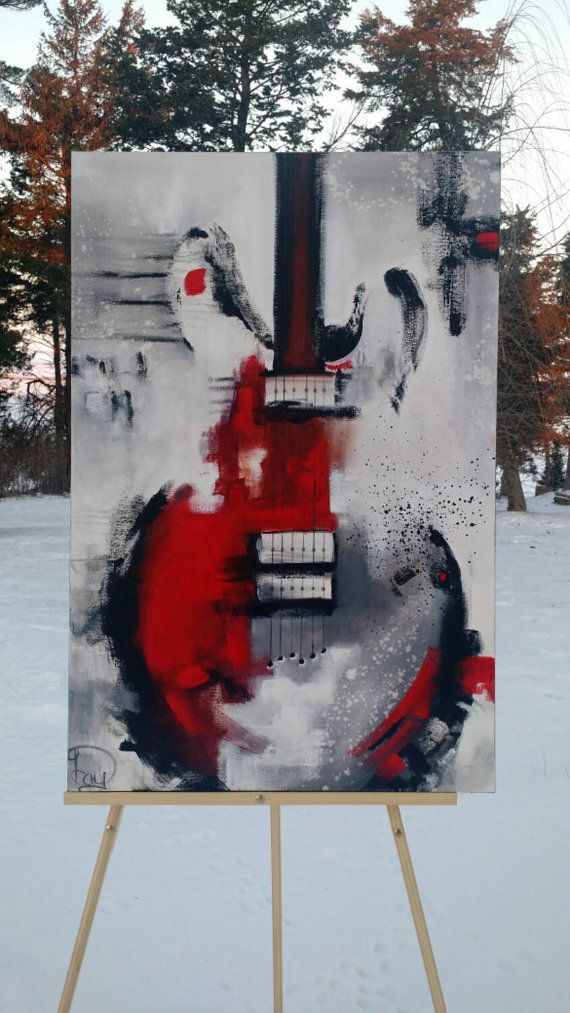 Guitar Painting Abstract Painting Red White Black