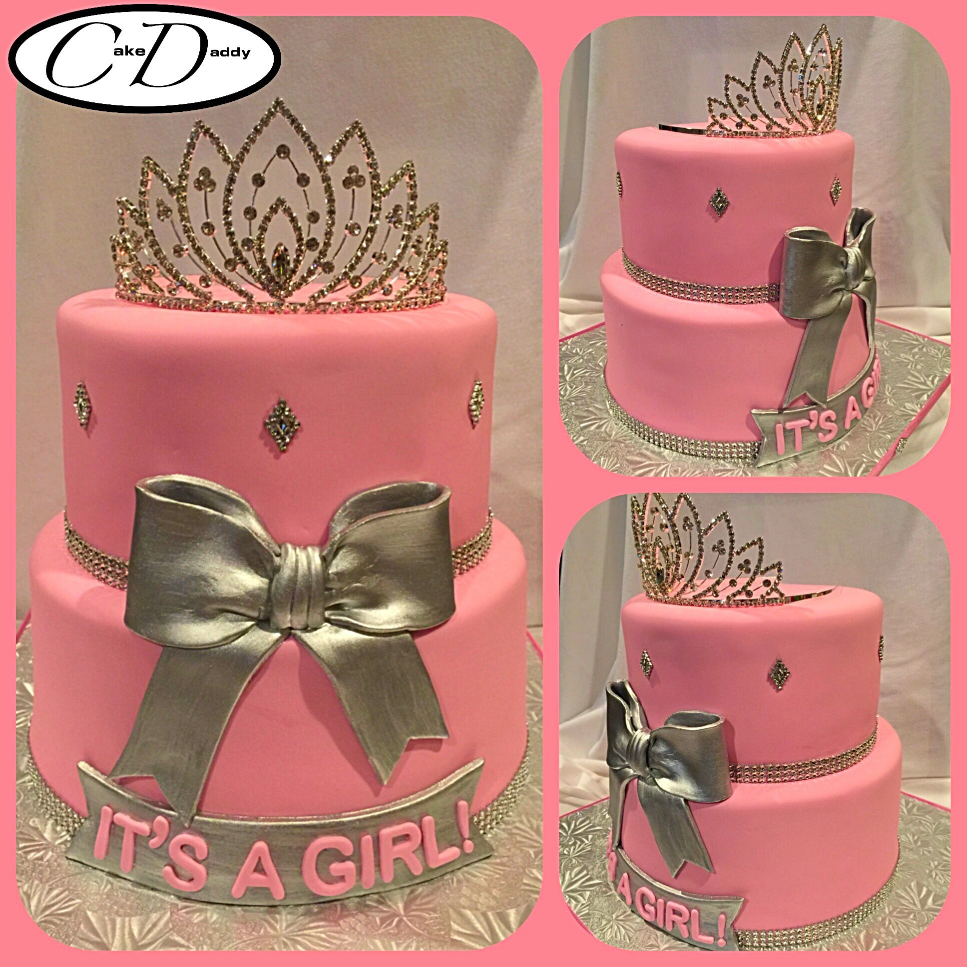 IT S A GIRL pink and silver princess themed baby shower cake